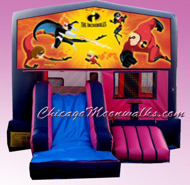 The Incredibles Inflatable Bounce House Rental Chicago Moonwalks IL