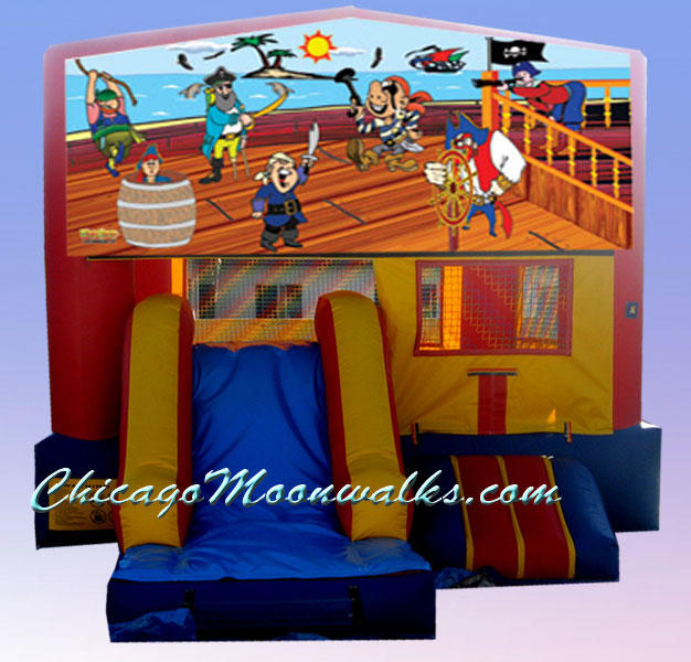 Treasure Island Pirate 3 in 1 Inflatable Slide Combo Bounce House Rental Chicago Illinois