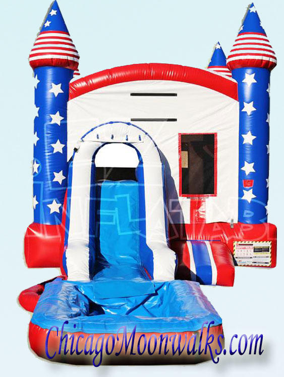 All American Patriotic Combo Waterslide Bounce House Rental Chicago
