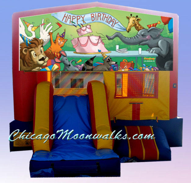 3 in 1 Birthday Animals Combo Bounce House