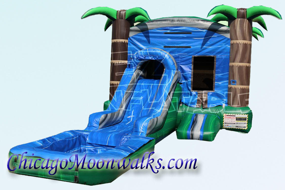 Blue Crush Wet Combo Rental Bounce House in Chicago IL