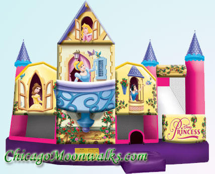 3D Disney Princess 5 in 1 Inflatable Combo Rental Chicago Moonwalks Bounce House