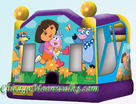 Dora Combo Bounce House Rental in Chicago IL, Chicago Moonwalks