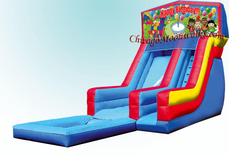 Happy Birthday, Kids Party Rental Water Slide.  Chicago Moonwalks provides fun for all ages!