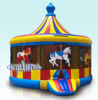 Carousel Jumper Deluxe Moonwalk Rental Chicago Bounce House. Great Carnival Themed Party Rental, Sure to be the Highlight of your Celebration. Chicago Party Rental Carousel Features Merry Go Round Theme