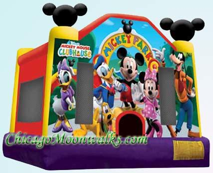 Chicago Mickey Mouse & Friends Mickey Park Deluxe Bounce House Rental. Chicago Moonwalks Rental.  Reserve Your Jumpy Inflatable Now.