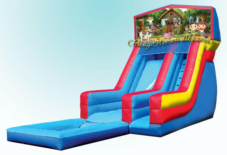Farm Theme Inflatable Water Slide Rentals in Chicago IL, Serving nearby suburbs