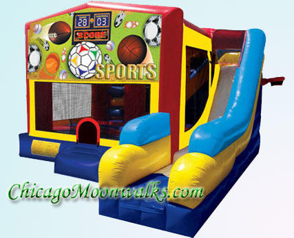 Sports 7 in 1 Combo Bounce House Inflatable Rental Chicago Illinois Moonwalks Party Bouncy Castle