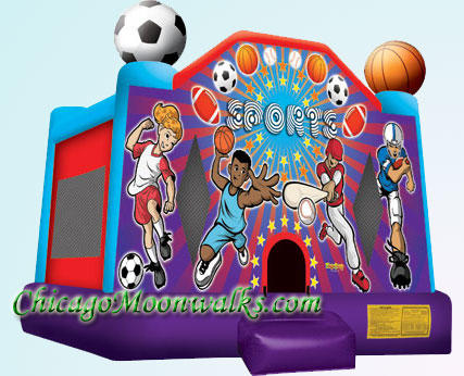 Sports Deluxe Bounce House Inflatable Rental Chicago Illinois Moonwalks Party