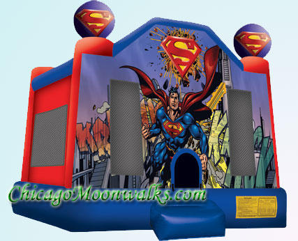 Superman Inflatable Bounce House Bouncy Castle Moonwalk Rental Chicago