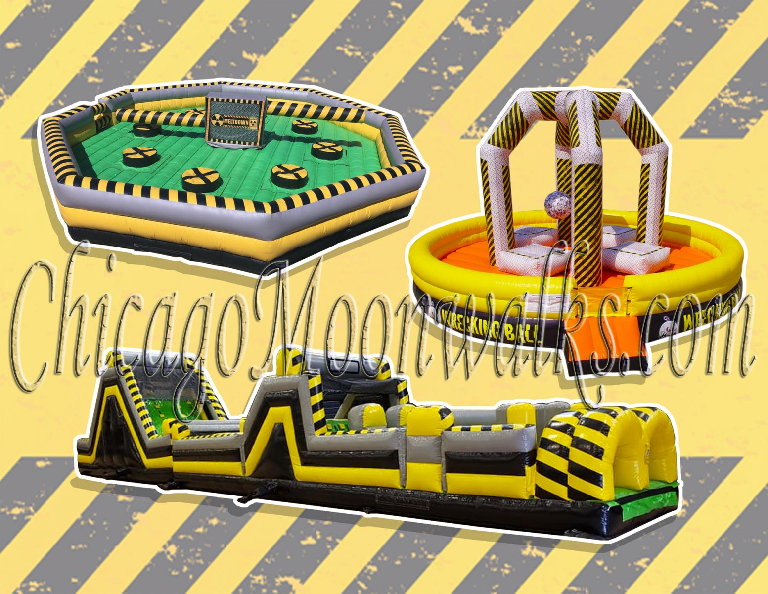Toxic Theme Party Rental Package Meltdown Obstacle Wrecking Ball Rental in Chicago IL
