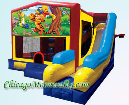 Winnie The Pooh 7 in 1 Inflatable Slide Combo Bounce House Rental Chicago Illinois
