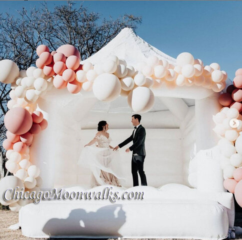 White Wedding Bounce House Rental Chicago Inflatable Bouncy Castle Dance Party
