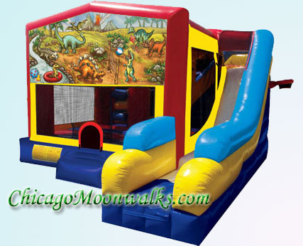 7-in-1 Dino Planet Combo Moonwalk Rental in Chicago IL