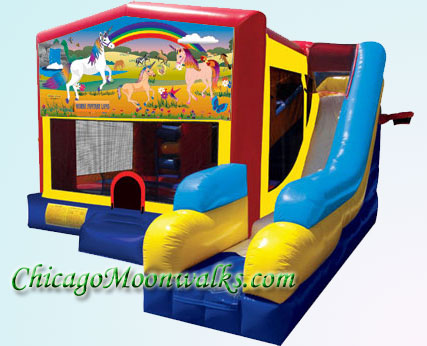 7-in-1 Unicorn Fantasy Inflatable Combo Moonwalk Rental in Chicago IL