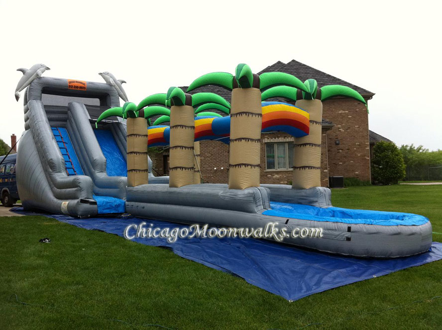 Tropical Rainbow Water Slide Rental Chicago