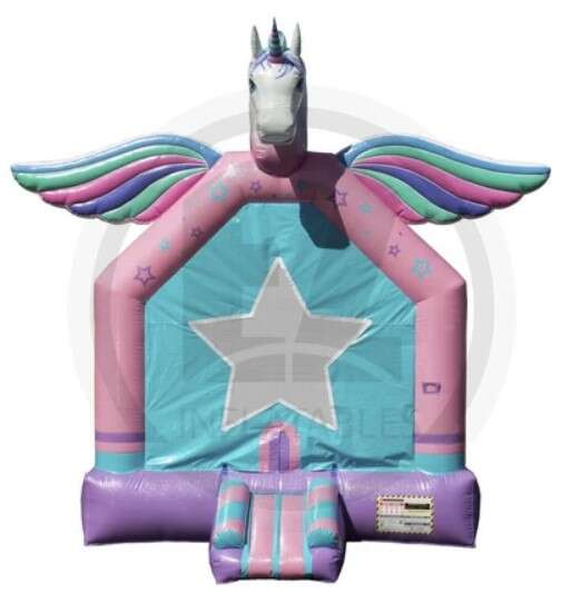Chicago Unicorn Deluxe Bounce House Rental. Chicago Moonwalks Rental.  Reserve Your Jumpy Inflatable Now.
