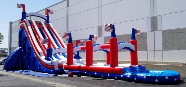 All American Patriot Dual Waterslide with Pool and Slip n Slide