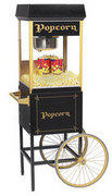 Black Popcorn Machine 8 oz with cart Includes 50 servings