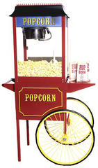 Red Popcorn Machine 8 oz with cart Includes 50 servings