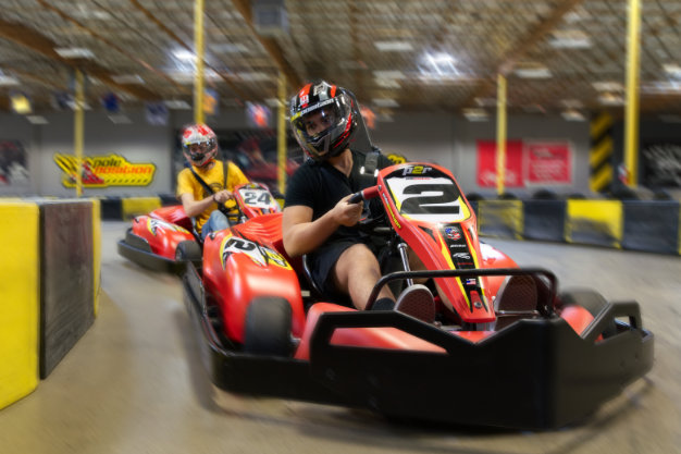 Adult go kart racers