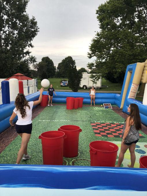 girls playing giant yard games