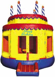 Round Happy Birthday Cake Bounce House