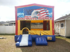 American Flag Bounce House with Mini Slide