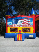American Flag Castle Bounce House
