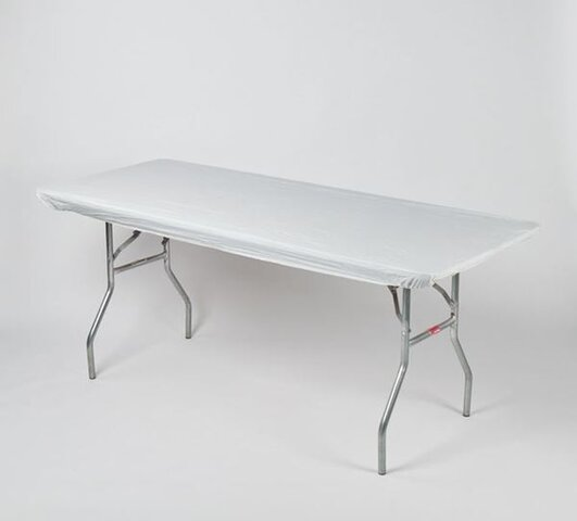 6ft banquet table includes white plastic table cover