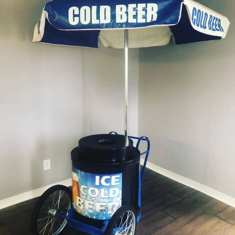 Rolling beverage cart with cooler and umbrella