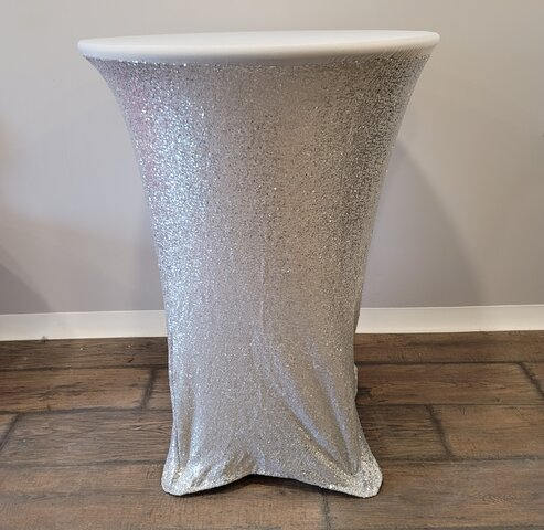 Spandex high top table cover (Silver Sequence)