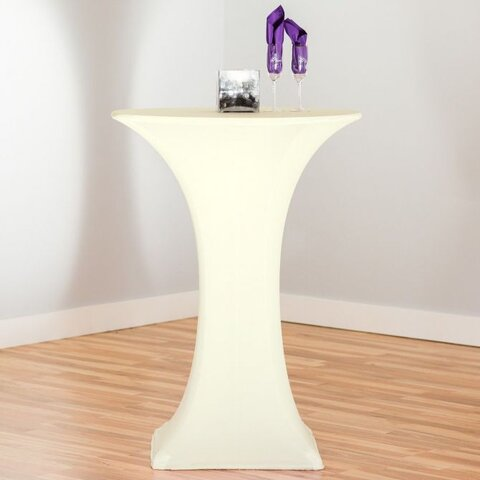 High top tables with ivory spandex cover Included