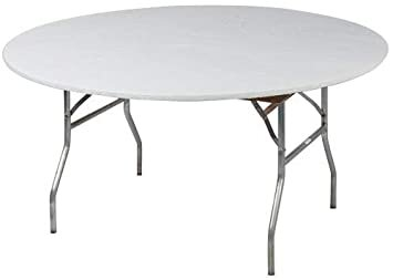 48 inch round table includes white plastic table cover