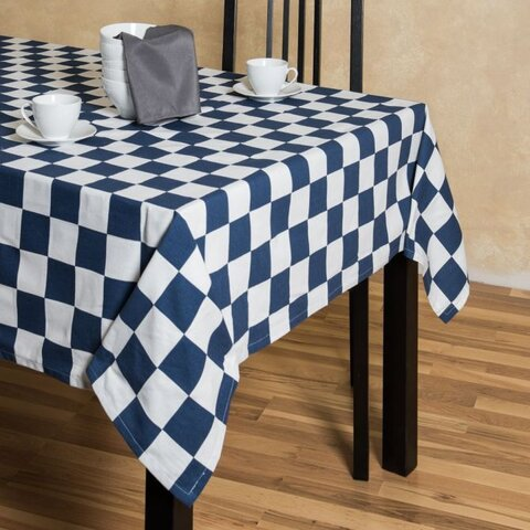 60 inch x 120 inch rectangle blue/white checker table linen