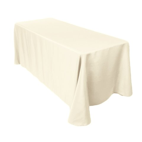 90 inch x 156 inch rectangle ivory linen