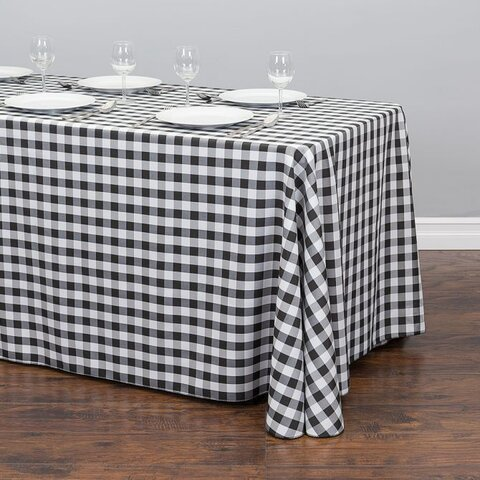 60 inch x 120 inch rectangle black/white checker table linen