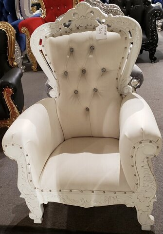 Kids Throne Chair Solid White