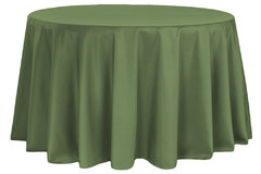 120 inch round willow/army green table linen
