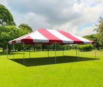 20' x 30' (600 Square Feet) Red and White Frame Tent (Walls can be added, but are not included)