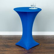 High top tables with royal blue spandex cover included