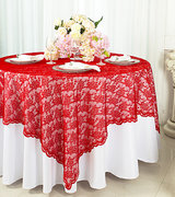 "Red Lace Overlay 72"" x 72"""