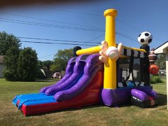 Sports castle combo with slide 1.5 HP blower