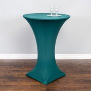 High top tables with hunter green spandex cover Included