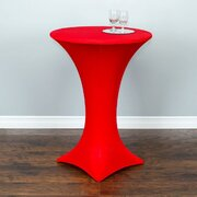 High top tables with red spandex cover included