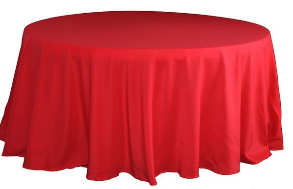 120 inch round red table linen