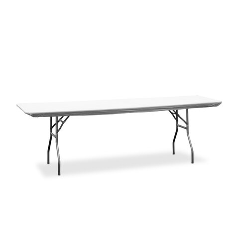 8ft Banquet table includes white plastic table cover