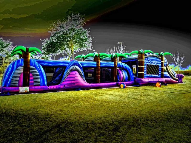 70ft Water Slide Tropical Obstacle Course