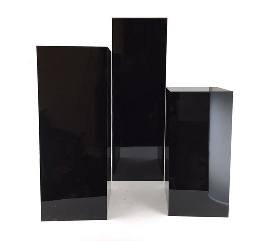 (3) Black Square Plinths