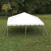 "Tent Package 40 Guest - 40 Poly White Chairs w/ (4) 60"" Round Tables"